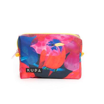 Cosmetiquera Orocue 02.01-Cosmetiquera con estampado de anturios rojos y rosado
