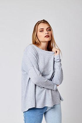 Sweater Delgado Hombros Caidos Gris Claro