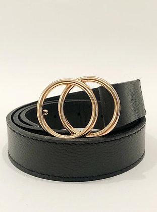Cinturón Cuero Negro Doble Aro Dorado