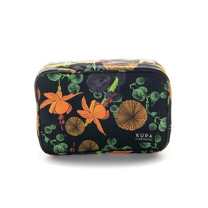 Cosmetiquero Baru 02.04-Cosmetiquero con estampado de flores amarillas y verdes