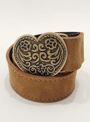 Cinturón Cuero Noburo Camel Corazón Flores Dore