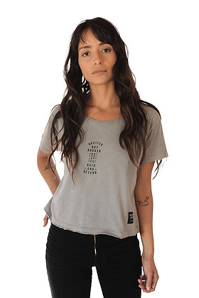 Polera Garment Dyed Algodon Organico Mujer Gris (polmteeg)