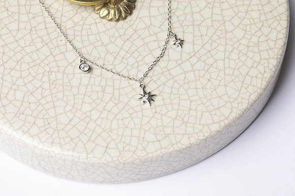 Collar 3 amuletos Silver