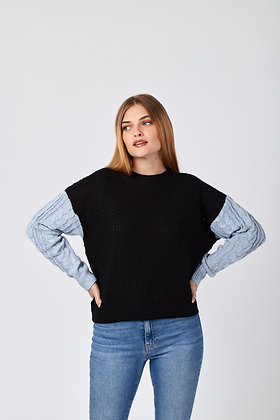 Sweater Mangas Grises Negro