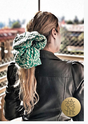 Scrunchie Maxi Bordado Verde