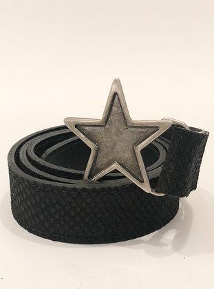 Cinturón Cuero Negro Escama Estrella Grafito