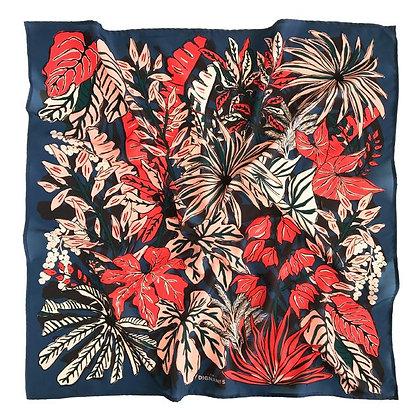 Pañuelo Botánica Silvestre azul 90x90