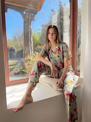 Pijama M/C Pantalon Celeste