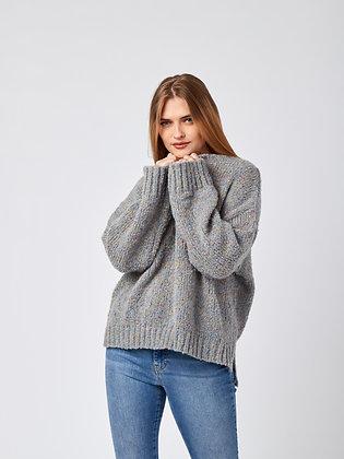Sweater Standard Gris Claro Hilos Colores