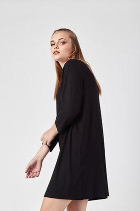 Vestido Midi Maga 3/4 Negro