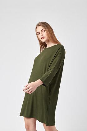 Vestido Midi Maga 3/4 Verde