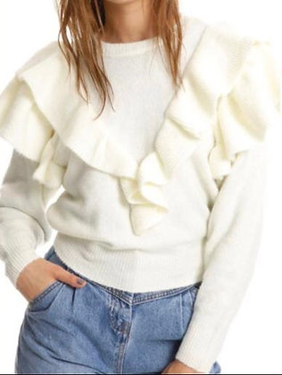Sweater Volantes Blanco CE023