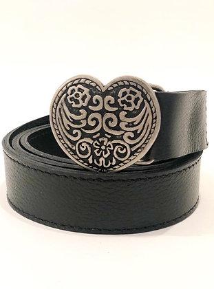 Cinturón Cuero Negro Corazón Flores Grafito