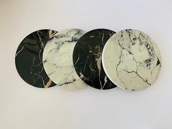 Set Posavasos Diseño Mármol Blanco y Negro