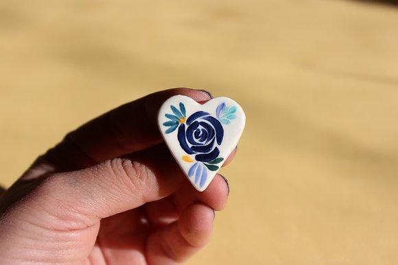 Prendedores Corazón Blanco/Flores Azul