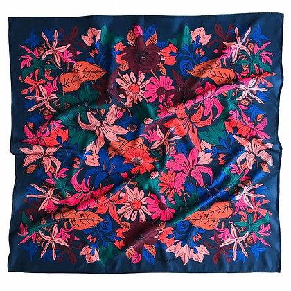 Pañuelo Flores Azul 50X50