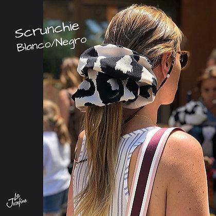 Scrunchie Maxi Blanco y Negro