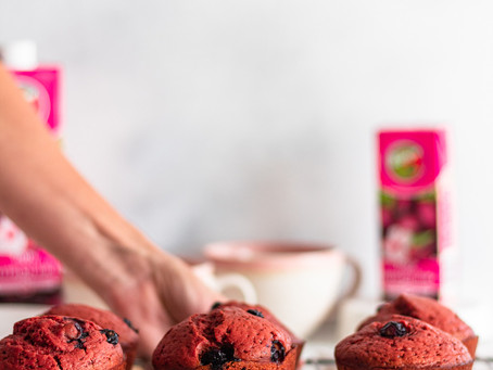 Giant Beetroot and Blueberry muffins made with Rugani 100% Beetroot Juice