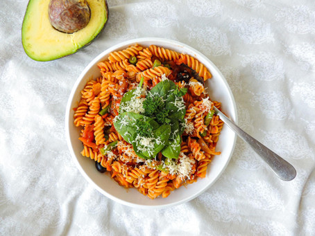 Chickpea Pasta with Veg-Packed Tomato Sauce