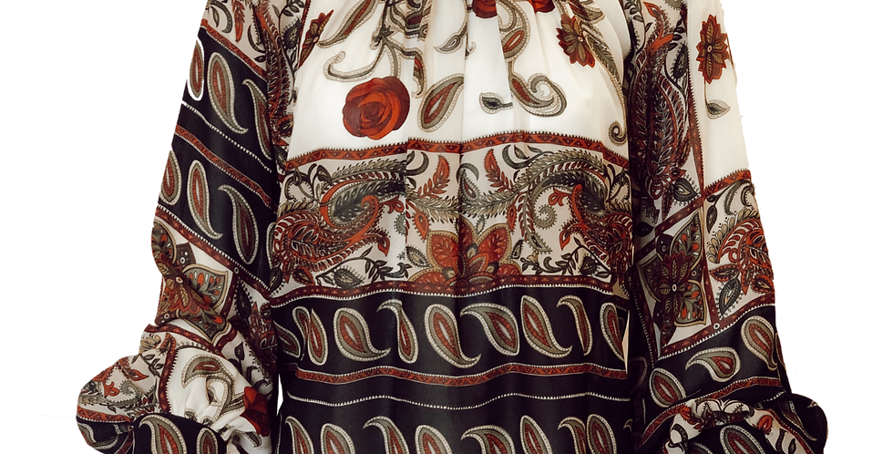 Patterned Blouse With Collar Tie