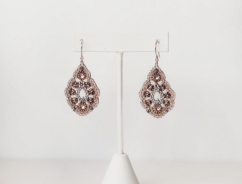 Tear Drop Beaded Earrings