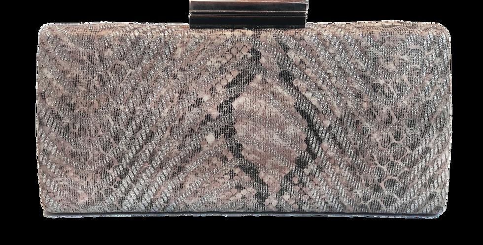 Snake Skin Clutch in Brown