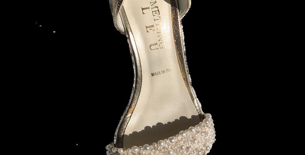 Beaded Metallic Gold Heel