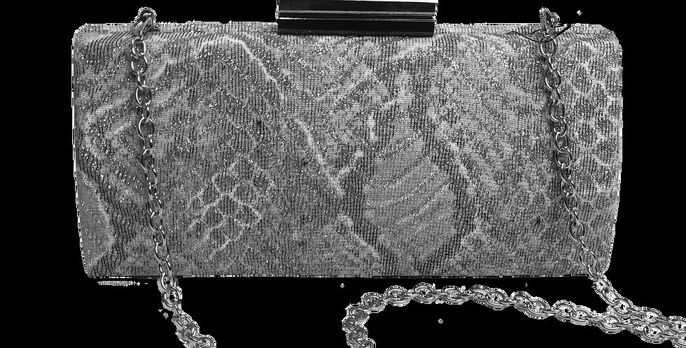 Snake Skin Clutch in Silver