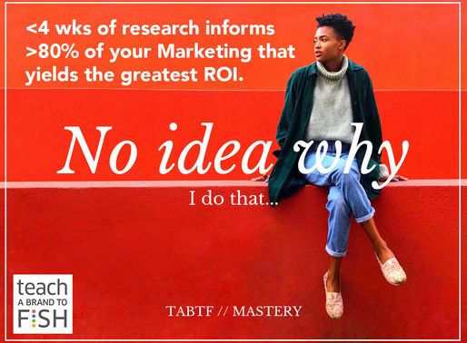 <4 wks of research informs >80% of your Marketing that yields the greatest ROI.