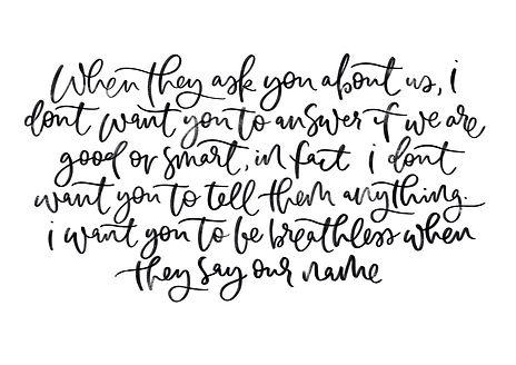 hand written quote