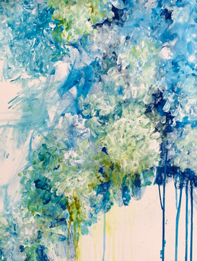 """""""Silver Lace""""  Acrylic, 24""""x 24"""" on canvas $1,200.00  Soft white petals, tints of blue, impressionistic floral.  Her poem  Silver Lace  Thrown together by nature Dancing in English Gardens  Random, perhaps  Stretching along the wire Patterns of lace amongst the blue  Chantilly Embroidered Venetian Petals  So delicate So lace like  Falling over one another to be seen Reaching, wandering  As if needlepoint lace in a floral design Random lace created by nature  Tints of blue"""