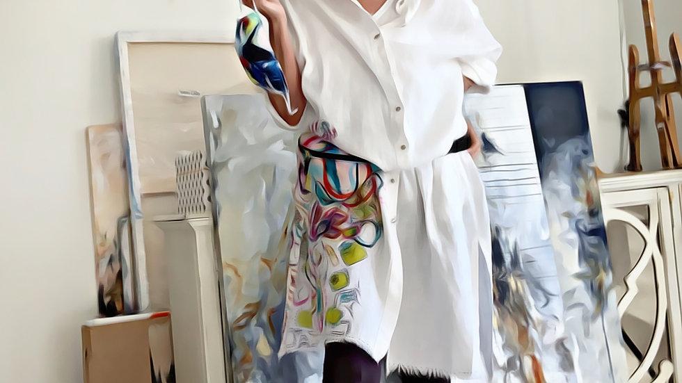 European Stonewashed Linen Art Shirt