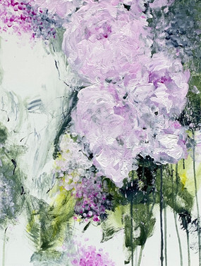 """""""Peonies""""  Acrylic, 24""""x 24"""" canvas $1,200.00  Impressionistic soft flowing petals with deep green and grey leaves. Pops of green gold along with paint splatter and a cool white background. The palm of her hand and fingertips were used many times in this original to create her imagination. Her poem follows  """"Peonies""""  I see them now  Late April with their deep green pointed hats They inch their way Like an earthworm on tippy toes  That is if they have tippy toes  There seems to be a group All standing like soldiers shoulder to shoulder  All with variations of the same pointy hat  They don't look like much now They know how gorgeous they will be They aren't in a hurry  They take their time Even though They can't wait to show off  I can't wait for them to show off"""
