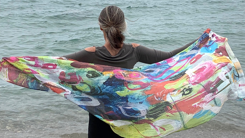 """Just Shut Up And Kiss Me, scarf on linen, 27""""x77"""""""