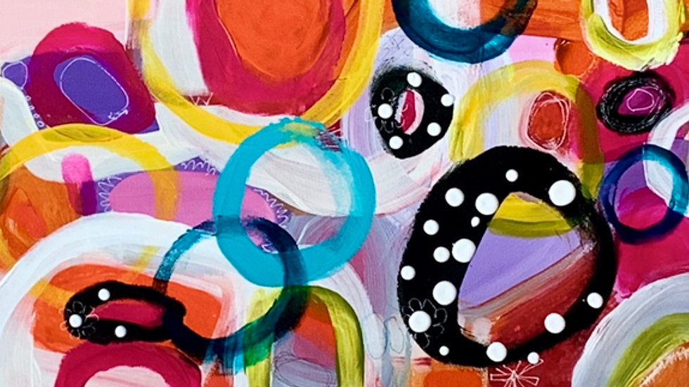 "Celebration 3, acrylic, pen, 10""x 60"""