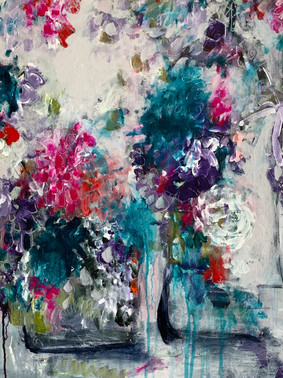 """""""Three Vases""""   Acrylic, 24""""x 24"""" canvas $1,200.00  Gestural, impressionistic swirls of colour. Turquoise, blue, pink, white green and several other tints and shades. A medley of colours falling over three vases imagined by this abstract artist.  You can feel the love of Monet with her florals along with her obvious love of colour. White lines in pen can be found along with dots and markings where she has used a silver marker.  """"My garden is my most beautiful masterpiece""""  Claude Monet  Magnolia  I miss the butterflies My neighbours English Garden Cloud-like wings Floating softly and holding on for dear life A gentle breeze gains strength Sending Magnolia petals Like butterlifes To their resting realm"""