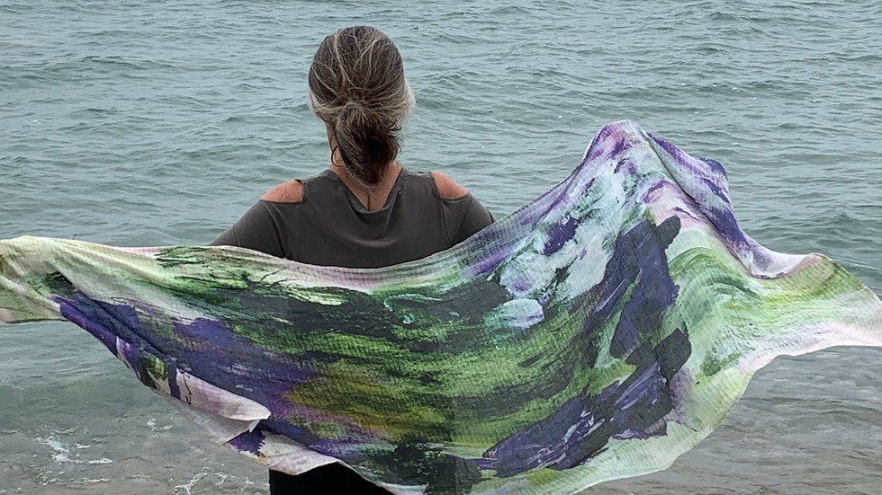 """We're Like Two Peas In A Pod, scarf on linen, 27""""x77"""""""