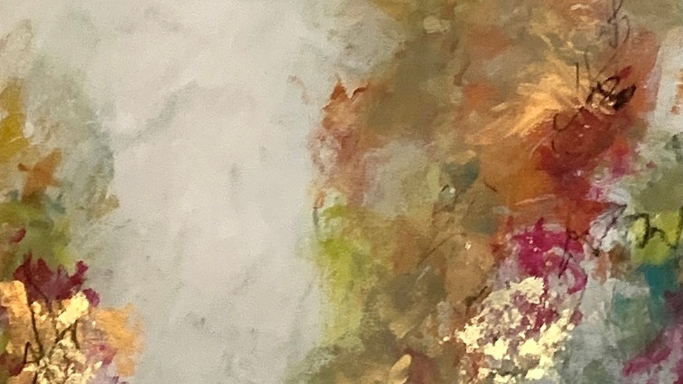 """Scintille dans ses yeux, acrylic, 18 karat gold leaf, 17""""x 40"""""""