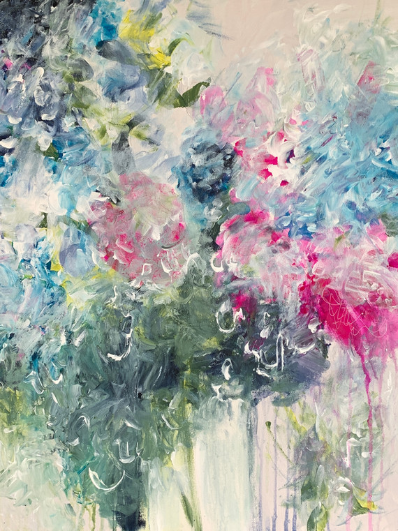 """""""Pink Peony"""" SOLD 🔴  Acrylic, 24""""x 24"""" canvas $1,200.00  Inpressionistic floral with soft tints of pink, green blue and yellow inspired by Monet and inspired a poem by the artist.  Bumble  Waiting for that Spring gift  Every year is the same Waiting patiently  That delightful melody of colour  The Bumble Bee is ready Bouncing like a Bumble would  Searching for a new Spring and new colours  Those open petals Those soft arms  Bumble waits to cuddle in"""