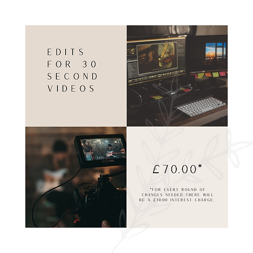 Video Editing Services - 30 Second Videos