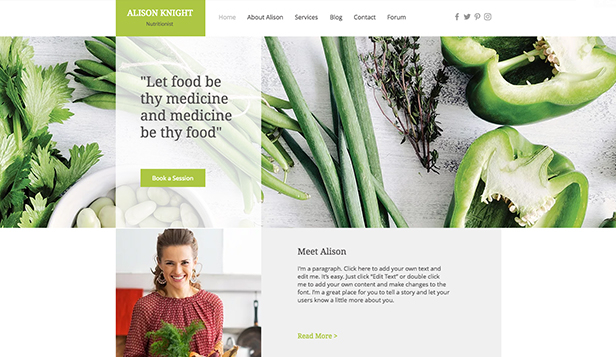 Personligt website templates – Dietist