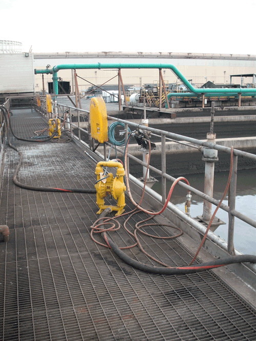 Oily water skimming using air diaphragm pumps