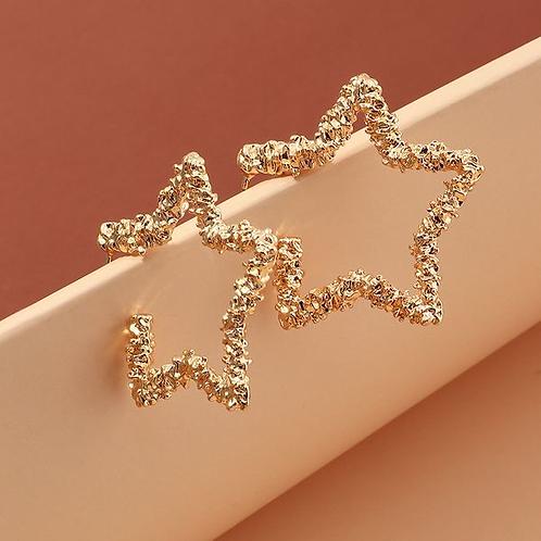 Thick Star Hoop Earrings