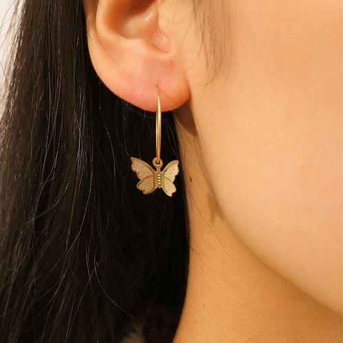 Butterfly Dangle Hoop Earrings