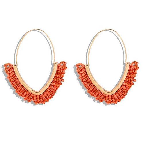 Orange Beaded Dangle Hoop Earrings