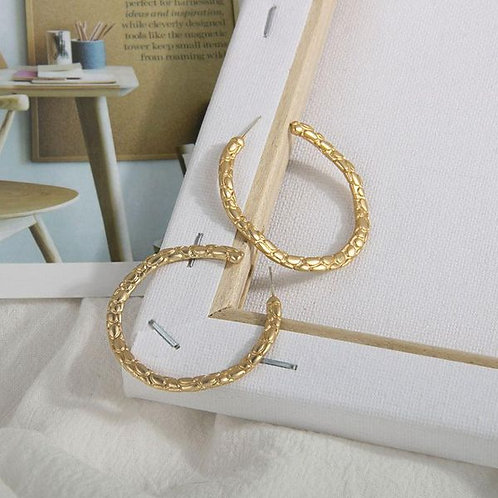 Gold Snakeskin Hoop Earrings