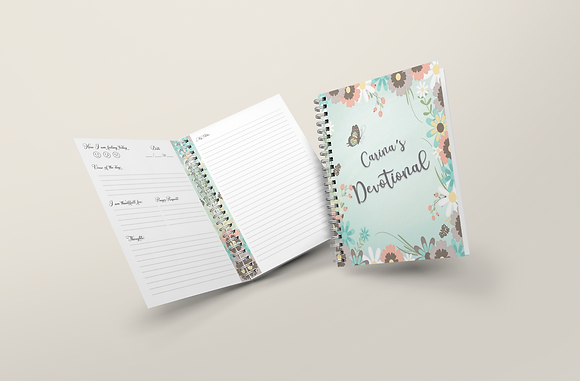 Personalised Hard cover Devotional Flowers