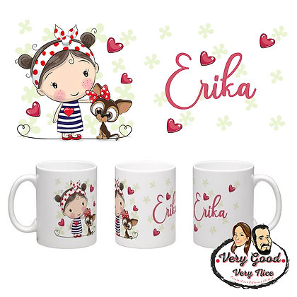 Girl with Dog Personalised Mug C03