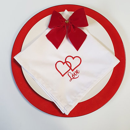 Love Valentine Embroidered Napkin set of 2