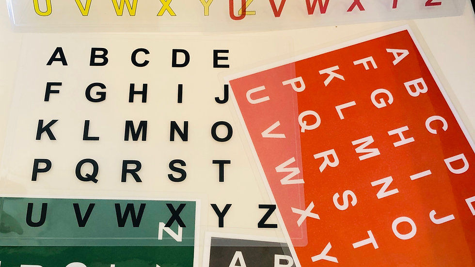 Letterboards: opaque (colors vary) and transparent
